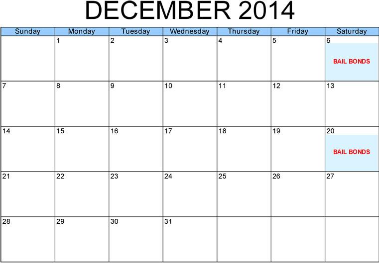 Bail Bonds Schedule December 2014